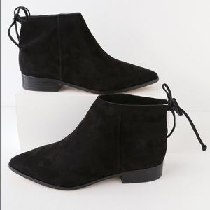Black Suede Leather Pointed Toe Ankle Booties 7.5